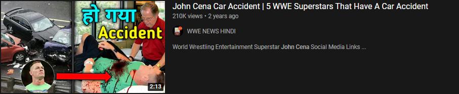 John Cena fake death news on youtube