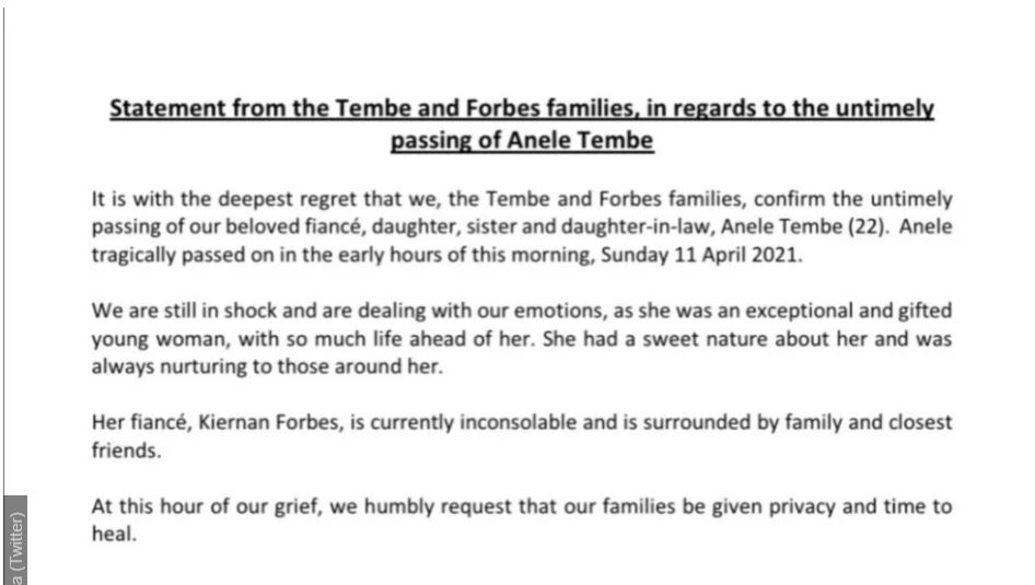 aka rapper Nelli Tembe death statement